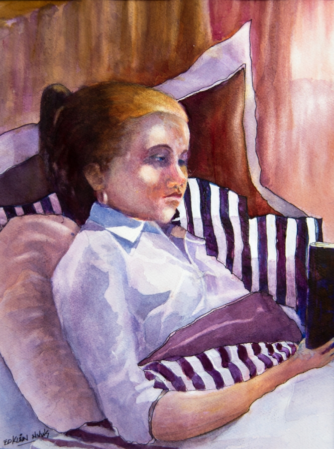 "EDWIN KLIEN ""GIRL WITH STRIPED PILLOWS"""